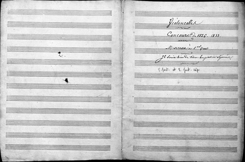 Anonyme, déchiffrage pour violoncelle, 1826 – Archives nationales (France), cote AJ37/203/4.