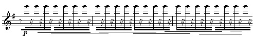 Steve Reich, Electric Counterpoint, mes. 3-5, notation approximative de l'articulation de Pat Metheny.