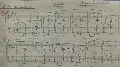 Le Chalutier mes.1-13. Copie de l'autographe du compositeur. Archives Lorenda Ramou (LR).
